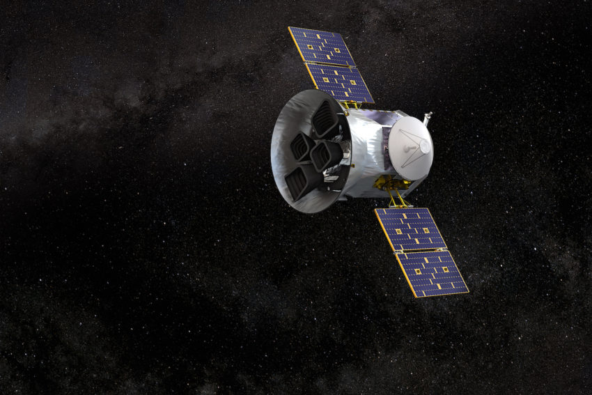 Illustration of NASA's Transiting Exoplanet Survey Satellite:TESS. Credits: NASA's Goddard Space Flight Center